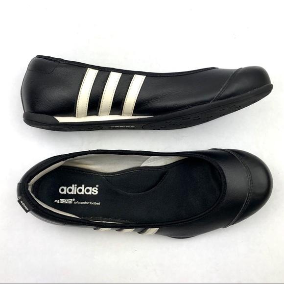 ADIDAS Fit Foam Striped Black Ballet Slip-On Flats